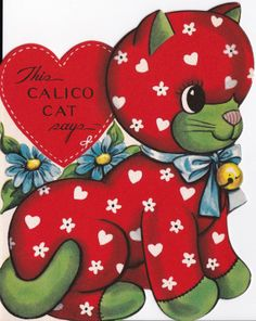 Vintage 1960s This Calico Cat Valentines by poshtottydesignz