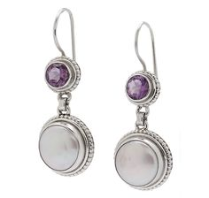 Himalayan Gems Sterling Silver Coin Pearl & Amethyst Earrings