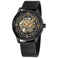 Akribos Xxiv 'Saturnos Elite' Men's Stainless-Steel Skeleton Automatic Watch