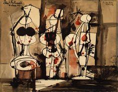 three figures shot - robert motherwell, 1944