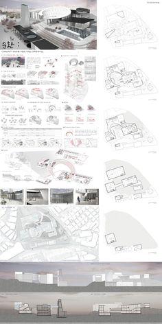 School of Architecture Park Da Som Architecture Portfolio Template, Villa Architecture, Library Architecture, Architecture Concept Drawings, School Architecture, Architecture Layout, Presentation Board Design, Architecture Presentation Board, Public Library Design