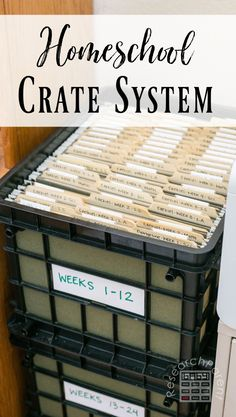 A homeschool crate and file folder organization system lets you plan your curriculum over the summer, then run on autopilot during the homeschool year. File Folder Organization, Classroom Organization, Learning Organization, Organizing, Homeschool Kindergarten, Homeschooling Resources, Learning Activities, Home Schooling, Crates
