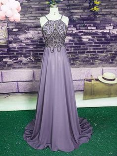Charming Chiffon Halter Long Beaded Chiffon Prom Dress,#promdress,#promdress2k18,#longpromdress