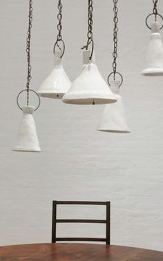 Ceramic pendants by Natalie Page. Downstairs hallway?