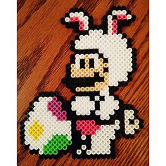 Easter Mario perler beads by angelacarisia Pearler Bead Patterns, Perler Patterns, Pearler Beads, Fuse Beads, Easter Show, Perler Bead Mario, Lego Mosaic, Nerd Crafts, Iron Beads