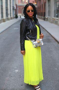 My style: Neon & leather (Leather moto jacket + Victoria's Secret pleated maxi dress + Bottega Veneta sandals)