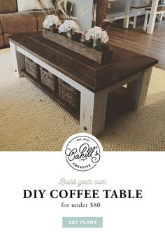 Build your own DIY Chunky Farmhouse Coffee Table for under $80. Visit Etsy for the DIY plans. https://www.etsy.com/listing/493000306/hefty-rustic-coffee-table-plans?ref=listings_manager_grid #diy #doityourself #coffeetable #rustic #hefty #farmhousestyle #farmhousefurniture #funiture #chunky #diyproject #diy #diyfurnitureplan