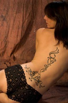 Back Lower Tribal Line Tattoo Design