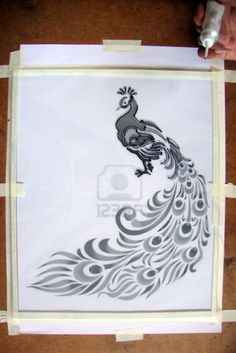 Glass Painting Tutorial - M by Lakshmi Peacock Outline, Outline Designs, Peacock Painting, Mosaic Glass, Arts And Crafts, Art Crafts, Free Design, Make Your Own, Image