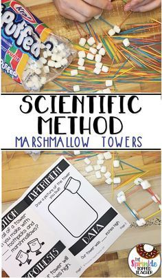 Marshmallow Toothpick Tower Science Experiment with the Scientific Method Scientific method booklet! 3rd Grade Science Experiments, Scientific Method Experiments, Second Grade Science, Science Fair Projects, Scientific Method For Kids, Chemistry Experiments, Science Lessons, Summer Science, Science For Kids