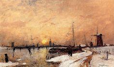 """""""Skaters at Dordrecht"""" by Johann Barthold Jongkind"""