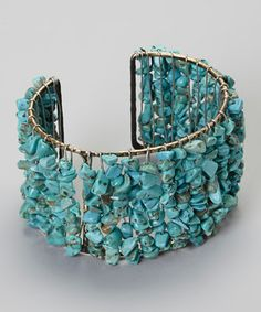 Another great find on #zulily! Turquoise Stone Cuff by Treska #zulilyfinds