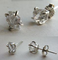 Herkimer Diamond (Quartz) Solitaire Earrings