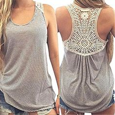 Women Vest,Haoricu Women Summer Lace Vest Short Sleeve Blouse Casual Tank Tops T-Shirt - Gray, 4XL   http://huntinggearsuperstore.com/product/women-vesthaoricu-women-summer-lace-vest-short-sleeve-blouse-casual-tank-tops-t-shirt/?attribute_pa_color=gray&attribute_pa_size=4xl