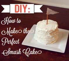 DIY Smash Cake Use whip cream for less sugary frosting Add a little food color Could I use our small Pyrex round containers to bake cake in!:) Or just cut down the cake by hand? I like the idea of using whip cream instead of frosting First Birthday Cakes, 1st Boy Birthday, First Birthday Parties, First Birthdays, Birthday Ideas, Baby First Cake, Baby Cake Smash, Smash Cakes, Smash Cake Recipes