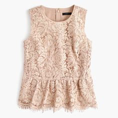 Crew for the Lace peplum top for Women. Find the best selection of Women Shirts & Tops available in-stores and online. Pink Lace Tops, Lacy Tops, Evening Blouses, Evening Tops, Going Out Shirts, Lace Peplum, Peplum Blouse, Mode Style, Clothes