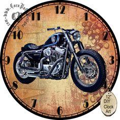 Reloj Harley Hd Sportster, Custom Sportster, Clock Art, Diy Clock, Clock Face Printable, Paisley Art, Antique Plates, Wooden Clock, Custom Art