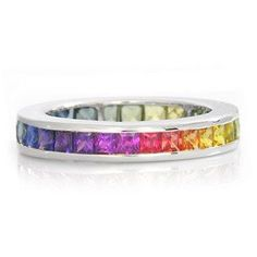 Multicolor Rainbow Sapphire Eternity Band Ring