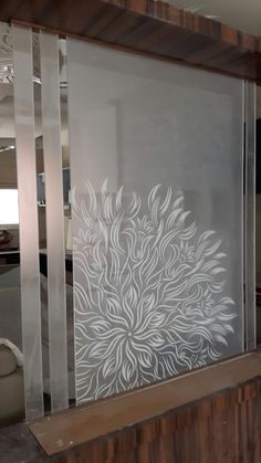 Elegand Dining Room With Decorative Window Film Decor, Glass Partition Designs, Glass Film Design, Decorative Window Film, Mirror Design Wall, Door Glass Design, Glass Partition Wall, Glass Wall, Wall Design