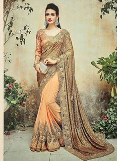 Buy Golden - Peach Russel Net & Georgette Half Saree at Rs. Get latest Party Wear Saree for womens at Peachmode. Fancy Sarees, Party Wear Sarees, Trendy Sarees, Stylish Sarees, Indian Dresses, Indian Outfits, Sari Dress, Saree Models, Casual Saree