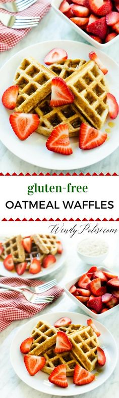 Gluten Free Oatmeal Waffles -  - These gluten free waffles feature Bob's Red Mill Gluten Free Quick Oats, yogurt and unrefined sugar, making them a great way to start the school day.  They can easily be made dairy-free.  The perfect make ahead breakfast!