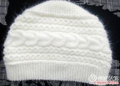 Tina's handicraft : how to make a knittet cable hat Knitting Paterns, Knitting Socks, Free Knitting, Knitted Hats, Crochet Patterns, Wie Macht Man, Beanie, Bonnet Hat, Green Hats
