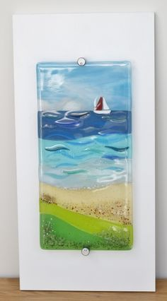 View from the Leas, fused glass panel