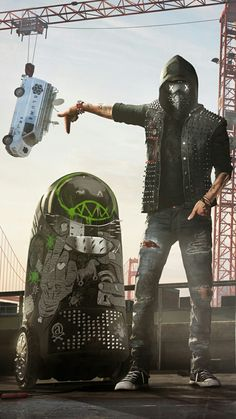 Hmm I wonder what Wrench looks like unmasked. Wrench Watch Dogs 2, Watch Dogs 1, Dope Wallpapers, Gaming Wallpapers, Latex Cosplay, 4k Wallpaper For Mobile, Hd Wallpaper, What Dogs, Geek Games