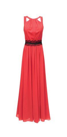 MOD: 0 141409 Vestido Rojo Largo de Fiesta con Detalle de Encaje Negro en Cintura