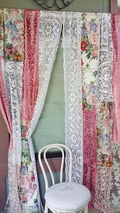 Boho/Shabby Chic Curtains IN STOCK Created with Vintage linens, vtg waterford fabric and vtg velvet cutwork fabric, antique lace tablecloth and wedding dress lace fabric… White ribbon tiebacks included ONE OF A KIND Measurements: There are 2 Panels . Blanc Shabby Chic, Cottage Shabby Chic, Shabby Chic Vintage, Shabby Chic Sofa, Shabby Chic Curtains, Shabby Chic Interiors, Shabby Chic Living Room, Shabby Chic Pink, Shabby Chic Bedrooms