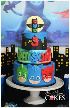 PJ mask cake Pj Masks Birthday Cake, 3rd Birthday Cakes, 4th Birthday Parties, Birthday Bash, Birthday Ideas, Torta Pj Mask, Pjmask Party, Party Ideas, Festa Pj Masks