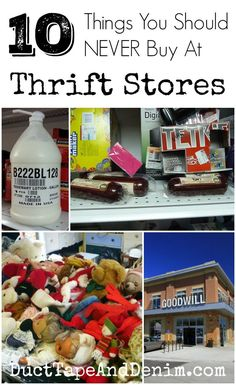 10 Things You Should NEVER Buy at Thrift Stores ~ shopping ~ how to shop ~ what to buy | http://DuctTapeAndDenim.com #thriftstore #thriftstores #thriftstoreshopping #whattobuyatthriftstores #thrifting #thriftstorefind #thriftstorefinds #thriftshop #thriftshops #charityshop #charityshops #dontbuythis