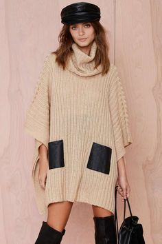 Nasty Gal Day Tripper Turtleneck Poncho