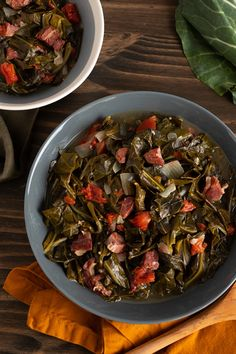 Create this collard greens recipe with meaty ham, sweet yellow onions, tender collard greens and Hunt's Diced Tomatoes that come together for an updated Southern recipe favorite. Collard Greens Recipe, Vegetable Sides, Side Dishes Easy, Southern Recipes, Cooking Recipes, Nutrition, Meals, Vegetables, Black Beans
