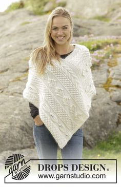 Snow Beads by DROPS Design - a lovely poncho with different patterns. Free #knitting pattern
