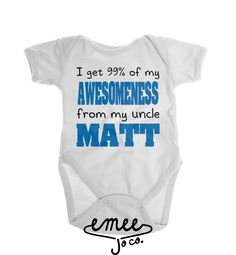 Uncle Onesie, Funny Uncle Onesie, Uncle Baby Clothes, I Get My Awesomeness From My Uncle