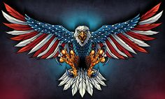 United States Bald Eagle with Flag Wings, Patriotic Art on metal sign, vintage style garage art wall decor by HomeDecorGarageArt on Etsy Patriotische Tattoos, Eagle Tattoos, Rebel Flag Tattoos, Wing Tattoos, Celtic Tattoos, Sleeve Tattoos, Tatoos, American Flag Decal, American Flag Eagle