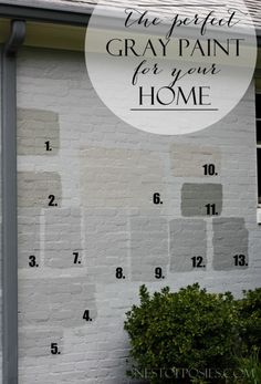 gray paint colors Finding the Perfect Gray Paint for your Home. Real life tale of trials & errors to find the perfect color.Finding the Perfect Gray Paint for your Home. Real life tale of trials & errors to find the perfect color. Café Exterior, Exterior Gray Paint, House Paint Exterior, Exterior Remodel, Exterior House Colors, Exterior Design, White Wash Brick Exterior, Brick Exterior Makeover, How To Paint A Brick House
