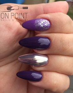 Fluid nail design acrylic nails with @kleancolor - true purple & lavenbaby, paste purple with chrome over the top and silver stamping.  Almond nails  Purple nails Chrome nails
