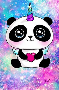 Cute Easy Drawings, Cute Kawaii Drawings, Kawaii Doodles, Cute Animal Drawings, Pink Unicorn Wallpaper, Cute Panda Wallpaper, Panda Wallpapers, Cute Cartoon Wallpapers, Panda Kawaii