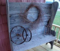 ♥ the old weathered barn wood bench metal wheels and wreath