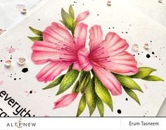 Altenew Springtime Azalea and Family Matters Stamp Set pencil colored using Prismacolors by @pr0digy0