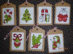 Xmas gift tags - NEEDLEWORK Cross Stitch Christmas Ornaments, Xmas Cross Stitch, Cross Stitch Bookmarks, Cross Stitch Cards, Christmas Gift Tags, Cross Stitch Flowers, Cross Stitch Kits, Christmas Cross, Cross Stitch Patterns