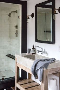 Old Soul: A Revolution-Era Hudson Valley Home Gets an Update from Jersey Ice Cream Co.: Remodelista Jersey Ice Cream Co. Old Chatham House, Remodelista, sink and shower Bad Inspiration, Bathroom Inspiration, Interior Inspiration, Bathroom Inspo, Bathroom Ideas, Chatham House, Cabinet D Architecture, Concrete Bathroom, Old Soul