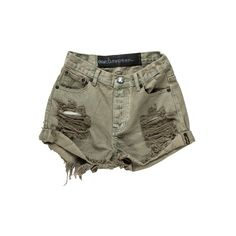 Welcome to OneTeaspoon (89 AUD) ❤ liked on Polyvore featuring shorts, bottoms, clothing - bottoms, green and green shorts
