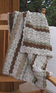Cozy Crocheted Lap Afghan Blanket Earthy by SnowflakeEclecticArt, $40.00