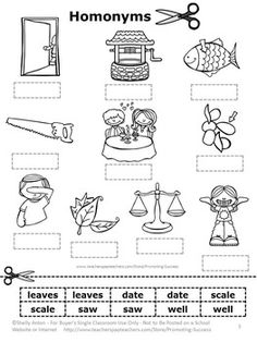 FREE Homonyms Worksheet - Students will cut and paste homonyms to match them to each picture.   Homonyms include:  leaves, date, scale, saw, well