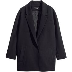 H&M Single-breasted coat (37 CAD) ❤ liked on Polyvore featuring outerwear, coats, jackets, coats & jackets, black, h&m coats, single breasted coat and lapel coat