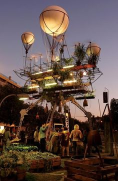 annachronique:  A suspended greenhouse towering over Nantes. Made by the street theatre company La Machine.