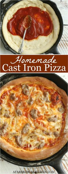 May 2020 - Homemade buttery, thick and chewy pizza dough baked in a cast iron skillet for the best homemade pizza. Cast iron pizza is the perfect homemade pizza recipe. (Easy to make with SIMPLE ingredients! Cast Iron Skillet Cooking, Easy Skillet Meals, Iron Skillet Recipes, Cast Iron Recipes, Cast Iron Pizza Recipe, Cast Iron Pizza Pan, Skillet Chicken, Iron Pan, Best Homemade Pizza
